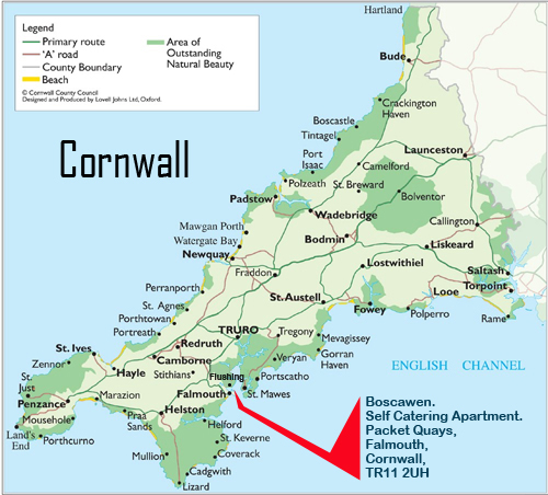 Cornwall Map Self Catering Falmouth Boscawen